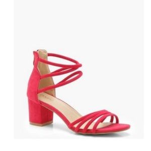 Boohoo red strap sandals